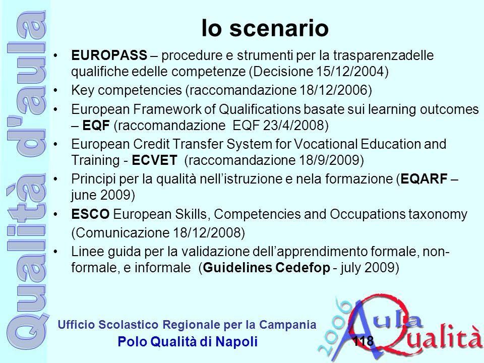 Ufficio Scolastico Regionale per la Campania Polo Qualità di Napoli 118 lo scenario EUROPASS – procedure e strumenti per la trasparenzadelle qualifich