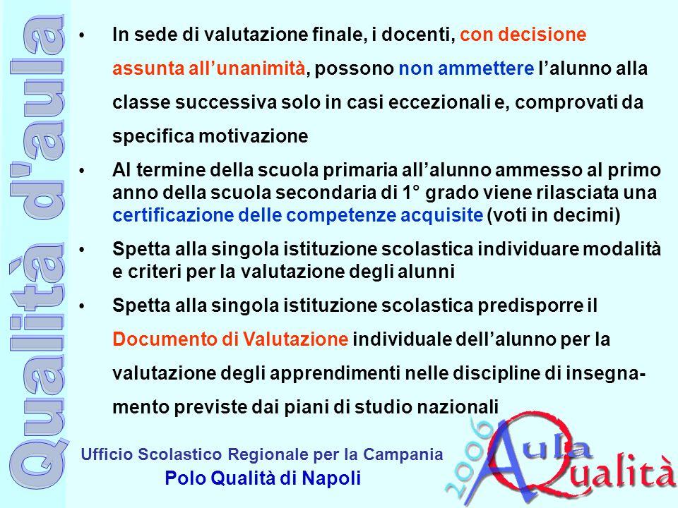 Ufficio Scolastico Regionale per la Campania Polo Qualità di Napoli In sede di valutazione finale, i docenti, con decisione assunta allunanimità, poss