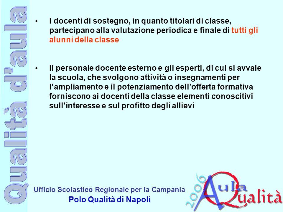 Ufficio Scolastico Regionale per la Campania Polo Qualità di Napoli I docenti di sostegno, in quanto titolari di classe, partecipano alla valutazione