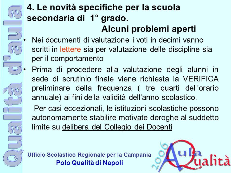 Ufficio Scolastico Regionale per la Campania Polo Qualità di Napoli 4. Le novità specifiche per la scuola secondaria di 1° grado. Alcuni problemi aper