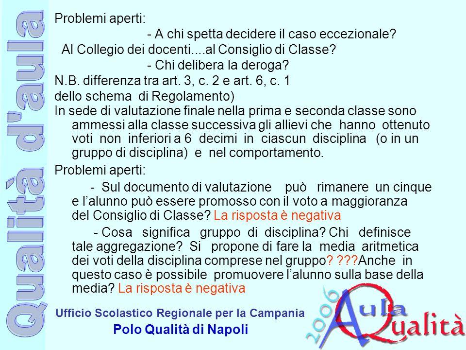 Ufficio Scolastico Regionale per la Campania Polo Qualità di Napoli Problemi aperti: - A chi spetta decidere il caso eccezionale? Al Collegio dei doce