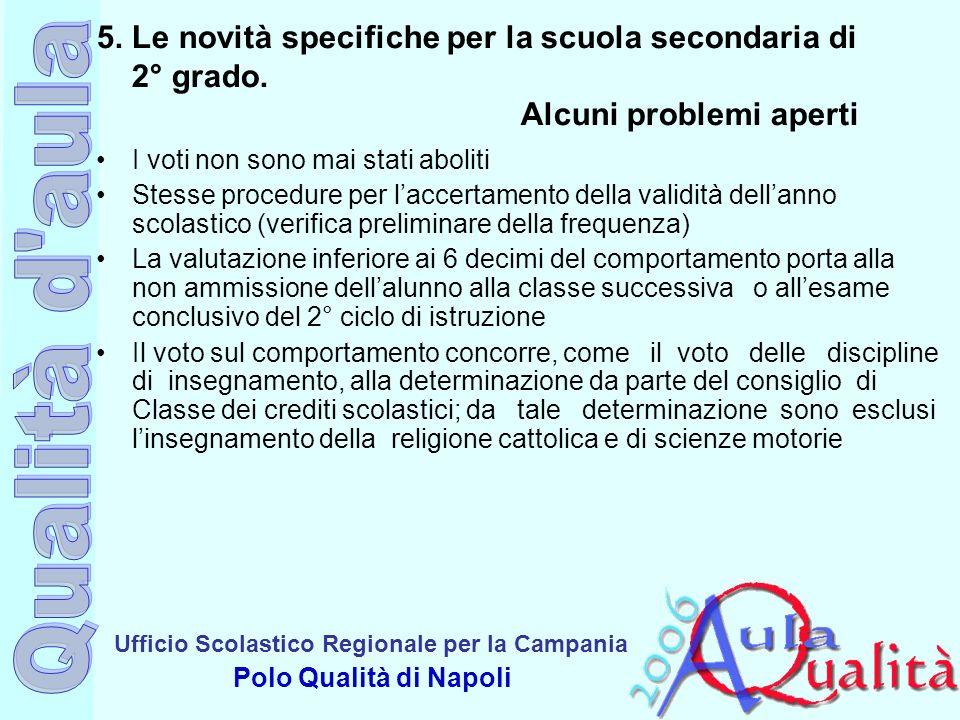 Ufficio Scolastico Regionale per la Campania Polo Qualità di Napoli 5. Le novità specifiche per la scuola secondaria di 2° grado. Alcuni problemi aper