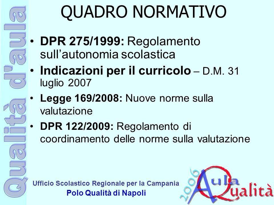 Ufficio Scolastico Regionale per la Campania Polo Qualità di Napoli QUADRO NORMATIVO DPR 275/1999: Regolamento sullautonomia scolastica Indicazioni pe