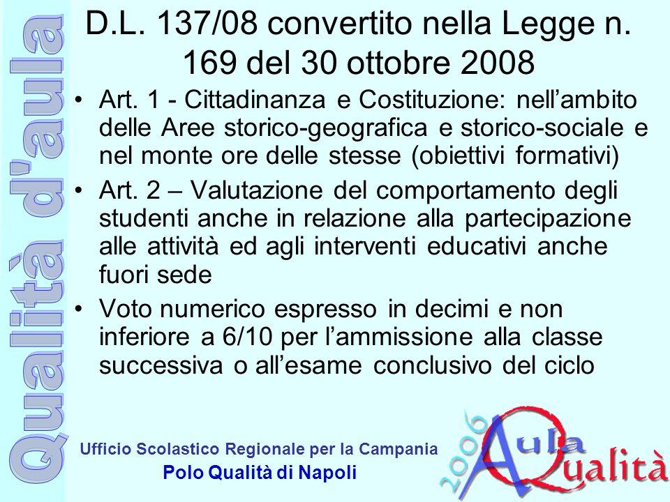 Ufficio Scolastico Regionale per la Campania Polo Qualità di Napoli D.L. 137/08 convertito nella Legge n. 169 del 30 ottobre 2008 Art. 1 - Cittadinanz