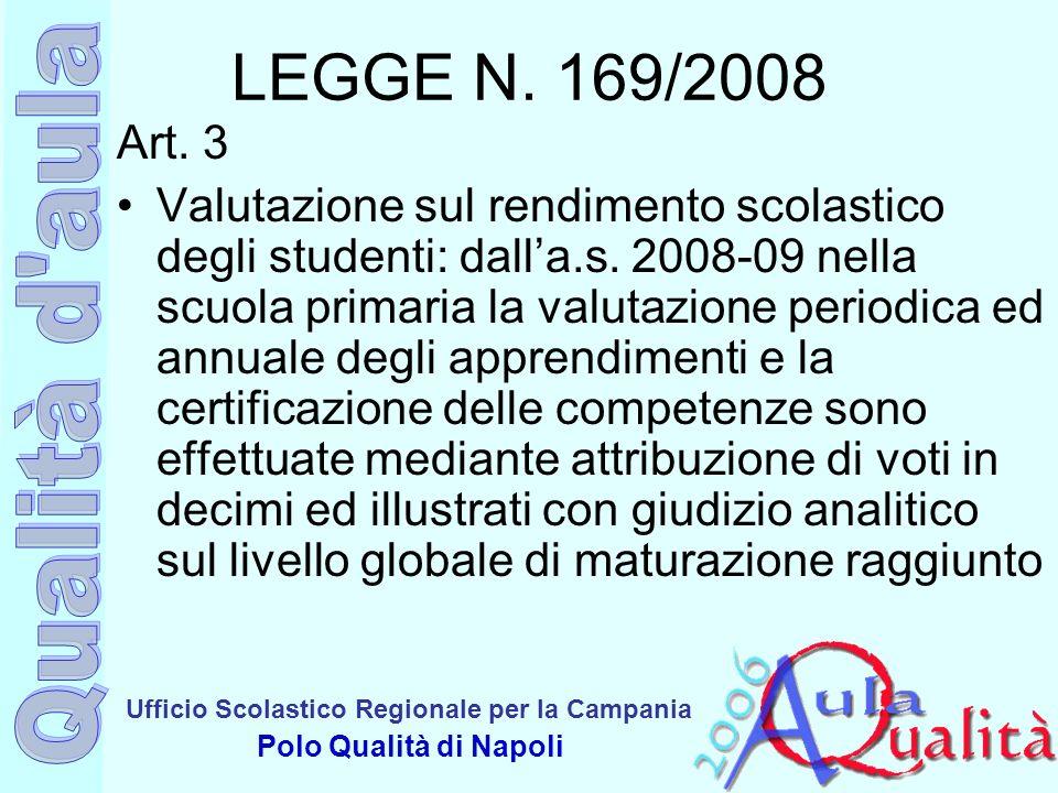 Ufficio Scolastico Regionale per la Campania Polo Qualità di Napoli LEGGE N. 169/2008 Art. 3 Valutazione sul rendimento scolastico degli studenti: dal