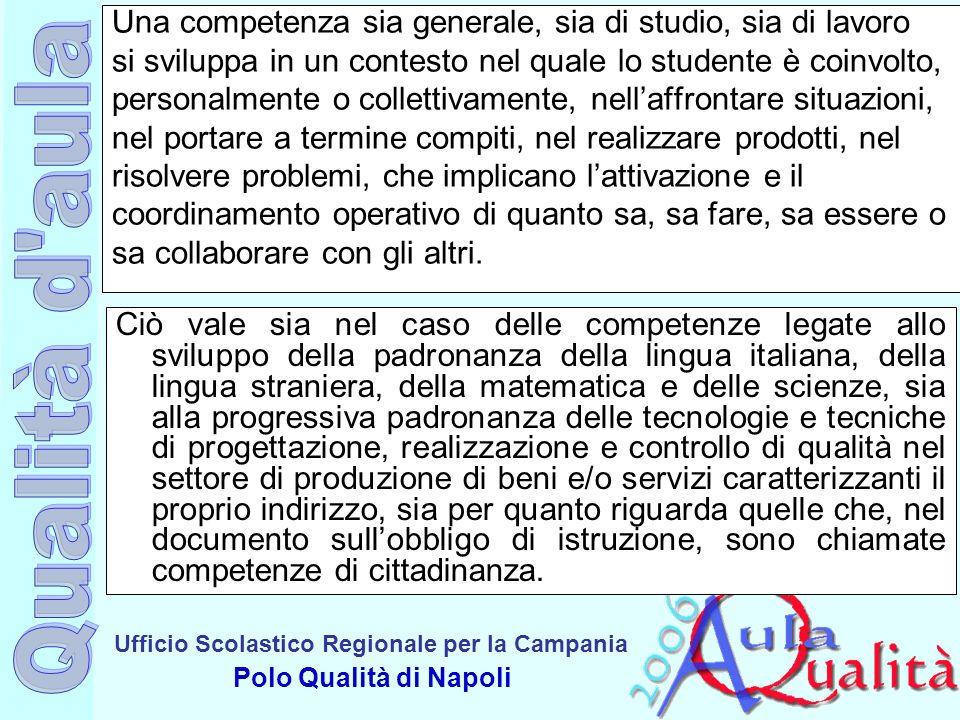 Ufficio Scolastico Regionale per la Campania Polo Qualità di Napoli Una competenza sia generale, sia di studio, sia di lavoro si sviluppa in un contes