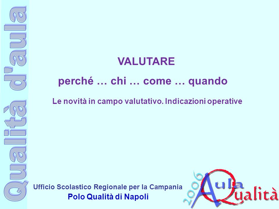 Ufficio Scolastico Regionale per la Campania Polo Qualità di Napoli QUADRO NORMATIVO DPR 275/1999: Regolamento sullautonomia scolastica Indicazioni per il curricolo – D.M.
