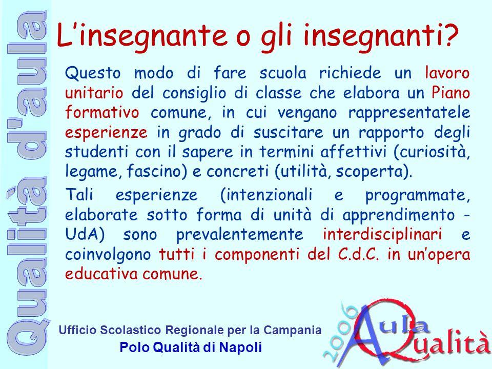 Ufficio Scolastico Regionale per la Campania Polo Qualità di Napoli Linsegnante o gli insegnanti? Questo modo di fare scuola richiede un lavoro unitar