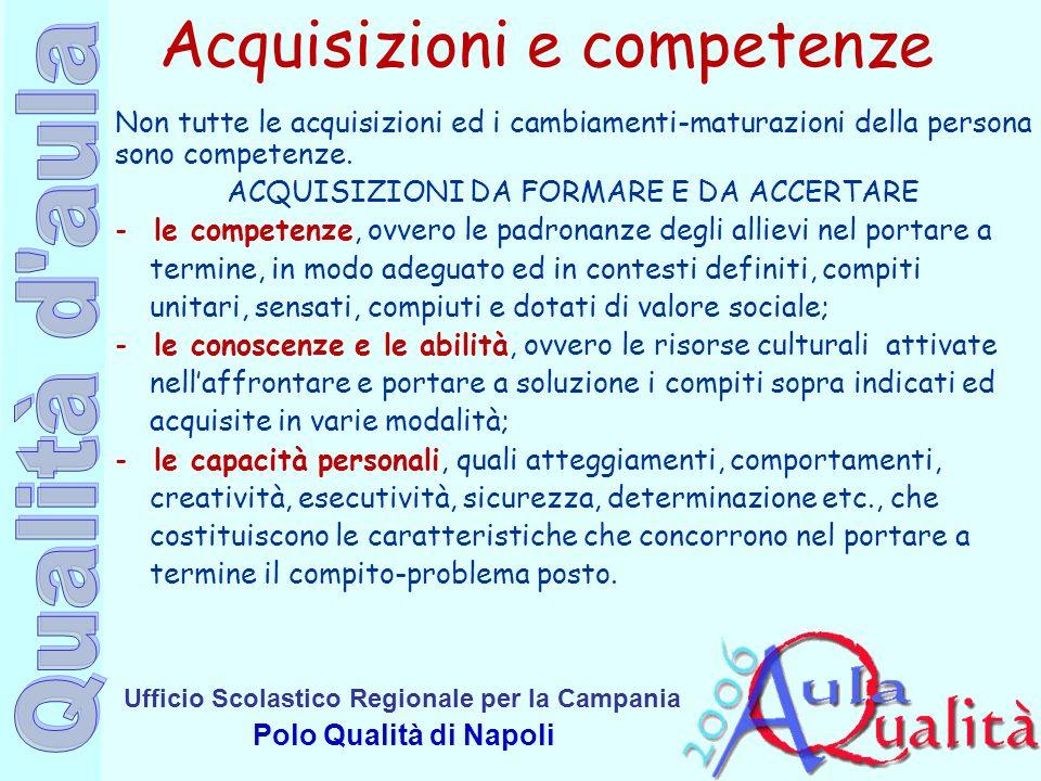 Ufficio Scolastico Regionale per la Campania Polo Qualità di Napoli Acquisizioni e competenze Non tutte le acquisizioni ed i cambiamenti-maturazioni d