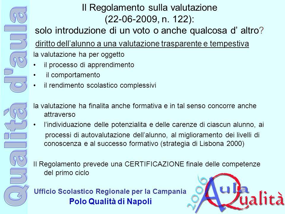 Ufficio Scolastico Regionale per la Campania Polo Qualità di Napoli Il Regolamento sulla valutazione (22-06-2009, n. 122): solo introduzione di un vot