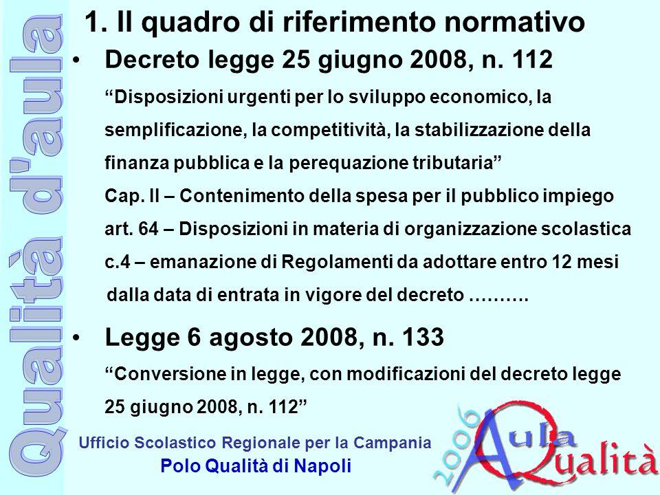 Ufficio Scolastico Regionale per la Campania Polo Qualità di Napoli 1.Il quadro di riferimento normativo Decreto legge 25 giugno 2008, n. 112 Disposiz