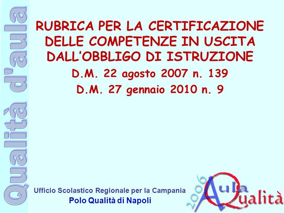 Ufficio Scolastico Regionale per la Campania Polo Qualità di Napoli RUBRICA PER LA CERTIFICAZIONE DELLE COMPETENZE IN USCITA DALLOBBLIGO DI ISTRUZIONE