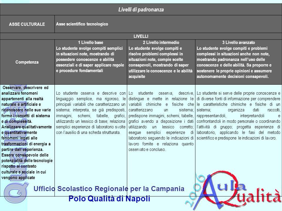 Ufficio Scolastico Regionale per la Campania Polo Qualità di Napoli Livelli di padronanza ASSE CULTURALE Asse scientifico tecnologico LIVELLI Competen