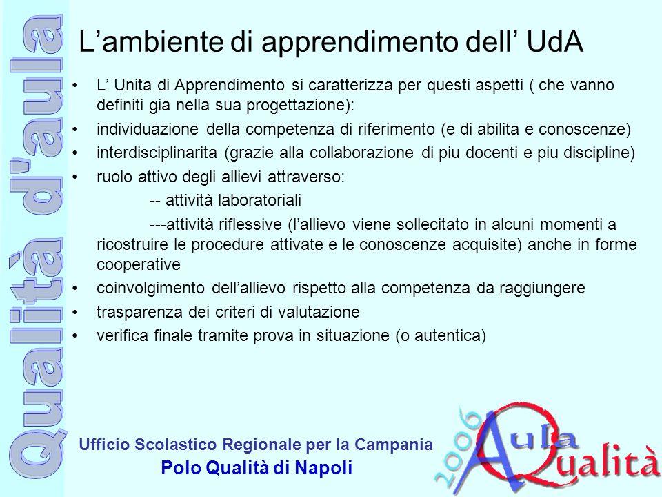 Ufficio Scolastico Regionale per la Campania Polo Qualità di Napoli Lambiente di apprendimento dell UdA L Unita di Apprendimento si caratterizza per q