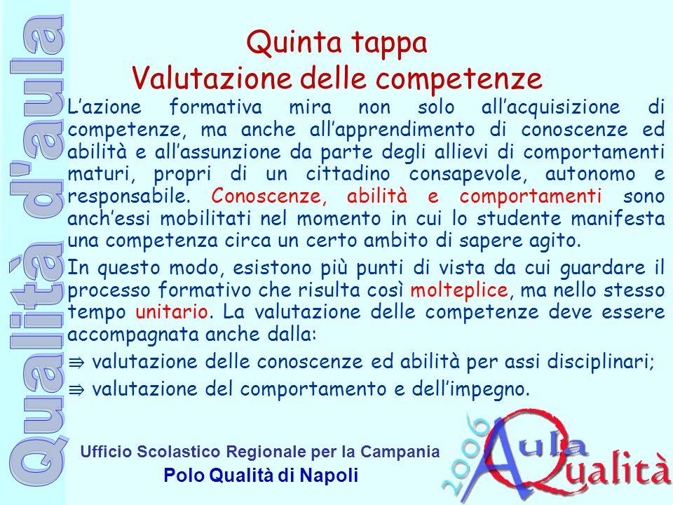 Ufficio Scolastico Regionale per la Campania Polo Qualità di Napoli Quinta tappa Valutazione delle competenze Lazione formativa mira non solo allacqui