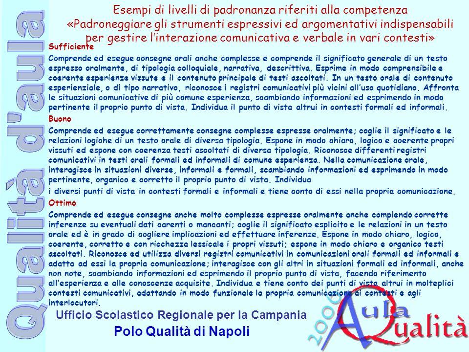 Ufficio Scolastico Regionale per la Campania Polo Qualità di Napoli Esempi di livelli di padronanza riferiti alla competenza «Padroneggiare gli strume