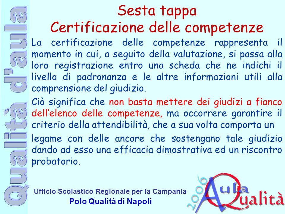 Ufficio Scolastico Regionale per la Campania Polo Qualità di Napoli Sesta tappa Certificazione delle competenze La certificazione delle competenze rap