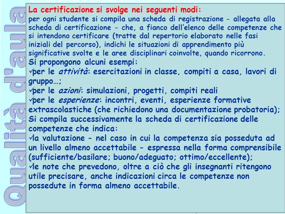 Ufficio Scolastico Regionale per la Campania Polo Qualità di Napoli La certificazione si svolge nei seguenti modi: per ogni studente si compila una sc