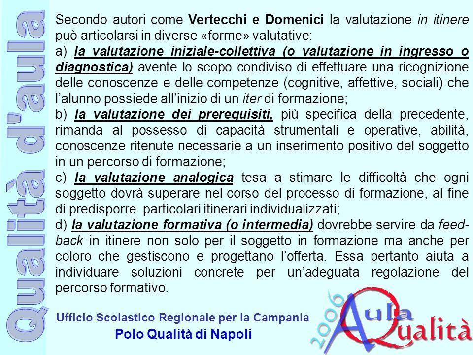 Ufficio Scolastico Regionale per la Campania Polo Qualità di Napoli Secondo autori come Vertecchi e Domenici la valutazione in itinere può articolarsi