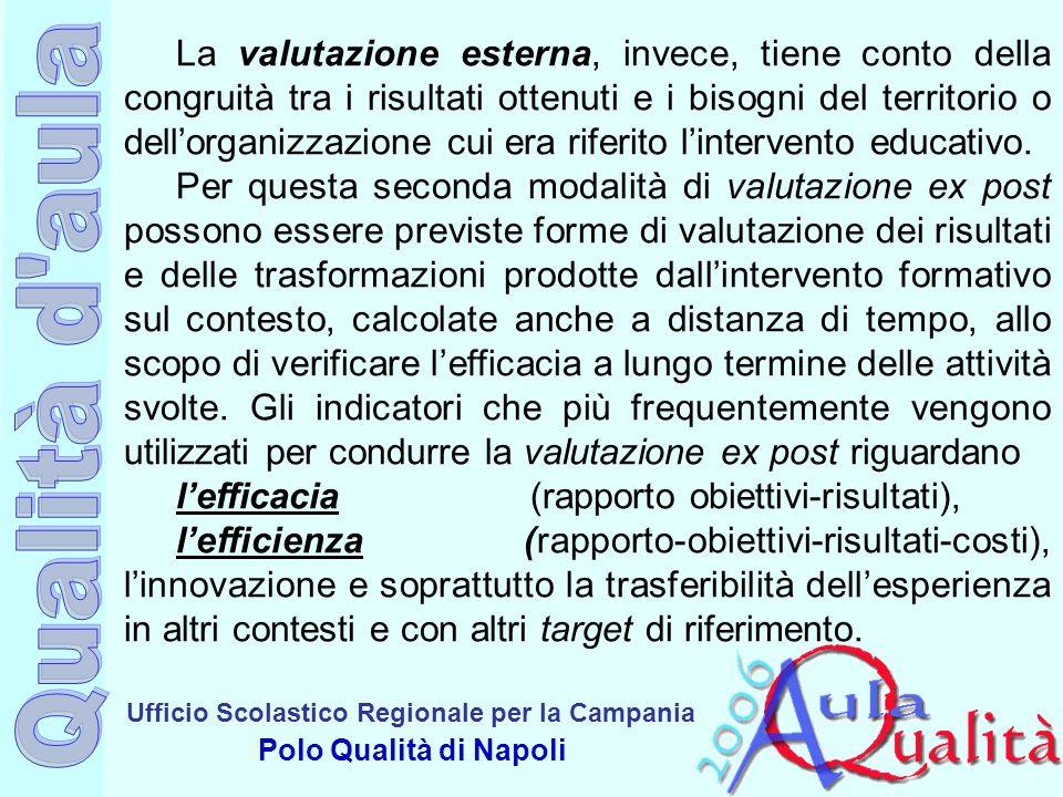 Ufficio Scolastico Regionale per la Campania Polo Qualità di Napoli La valutazione esterna, invece, tiene conto della congruità tra i risultati ottenu