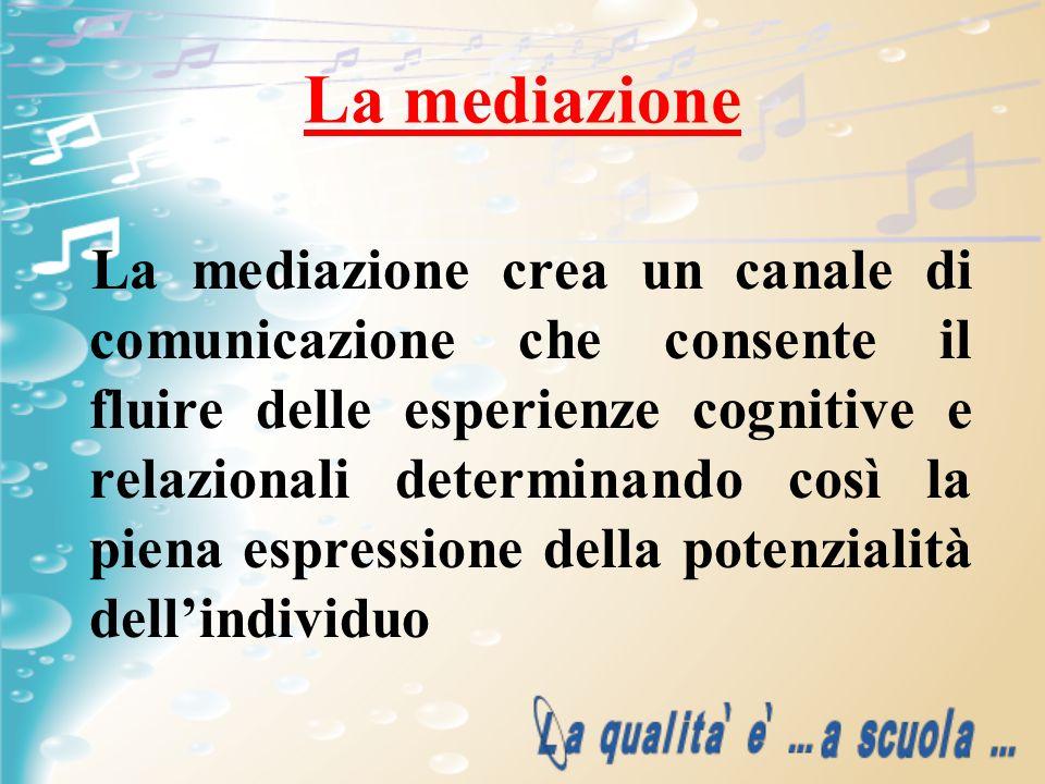 La mediazione La mediazione crea un canale di comunicazione che consente il fluire delle esperienze cognitive e relazionali determinando così la piena