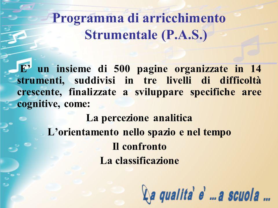 Programma di arricchimento Strumentale (P.A.S.) E un insieme di 500 pagine organizzate in 14 strumenti, suddivisi in tre livelli di difficoltà crescen