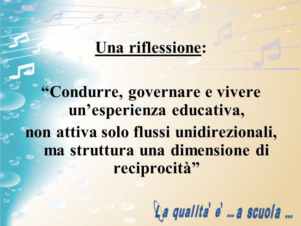 Una riflessione: Condurre, governare e vivere unesperienza educativa, non attiva solo flussi unidirezionali, ma struttura una dimensione di reciprocit