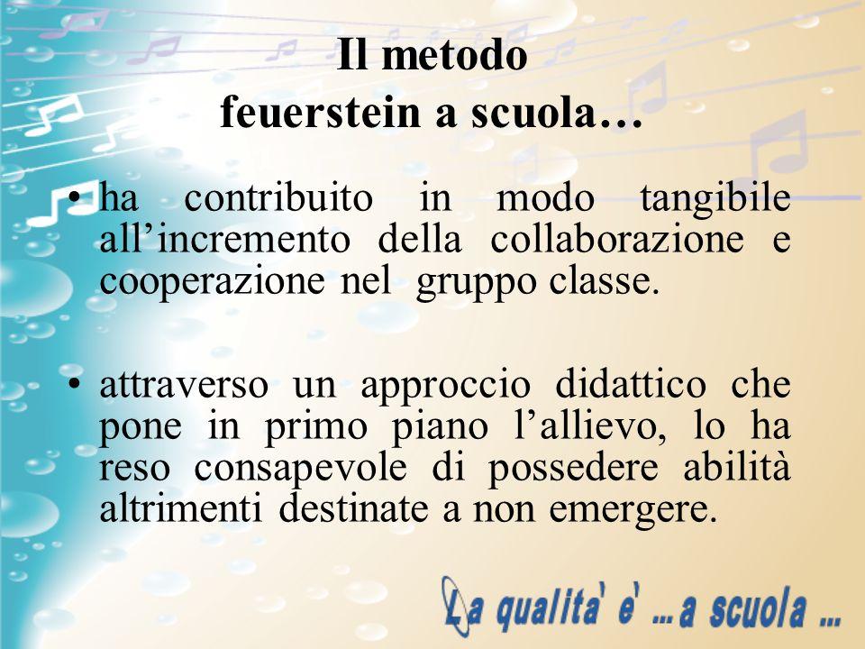 Il metodo feuerstein a scuola… ha contribuito in modo tangibile allincremento della collaborazione e cooperazione nel gruppo classe. attraverso un app