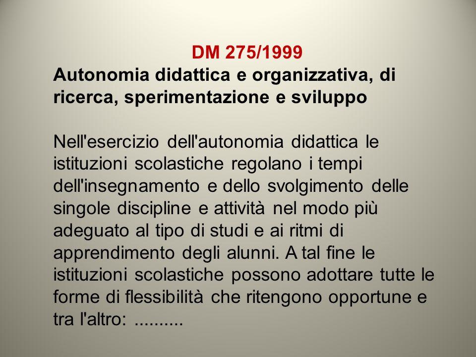 DM 275/1999 Autonomia didattica e organizzativa, di ricerca, sperimentazione e sviluppo Nell'esercizio dell'autonomia didattica le istituzioni scolast