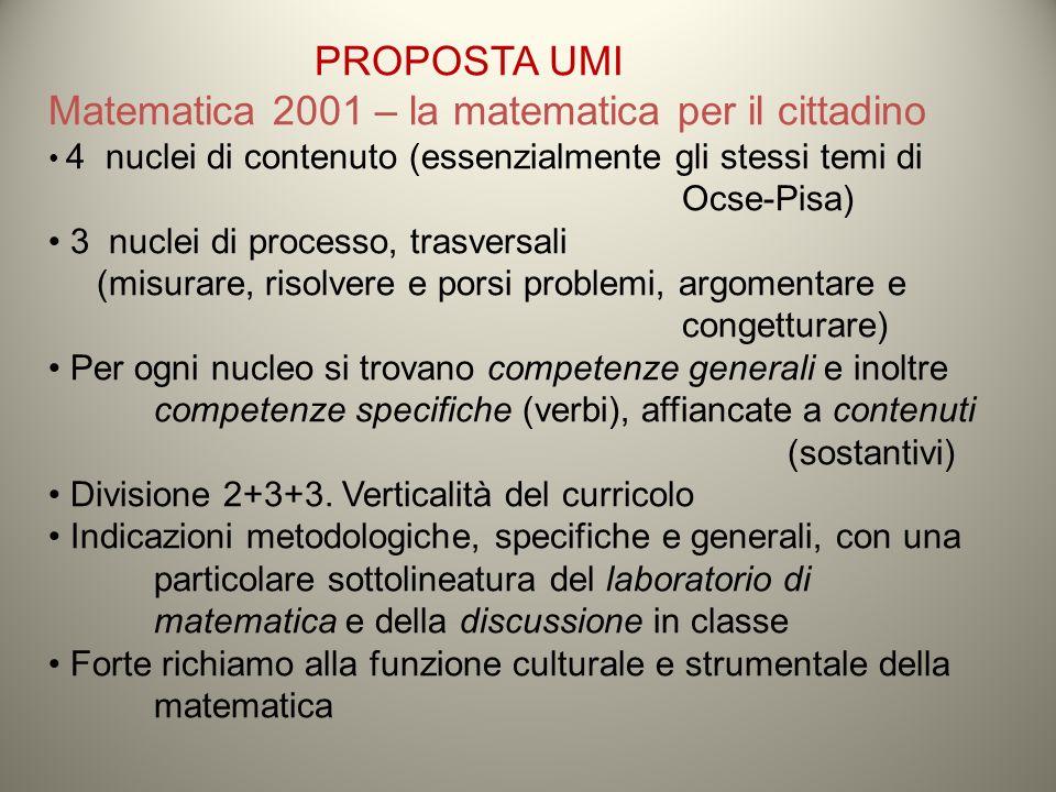 PROPOSTA UMI Matematica 2001 – la matematica per il cittadino 4 nuclei di contenuto (essenzialmente gli stessi temi di Ocse-Pisa) 3 nuclei di processo