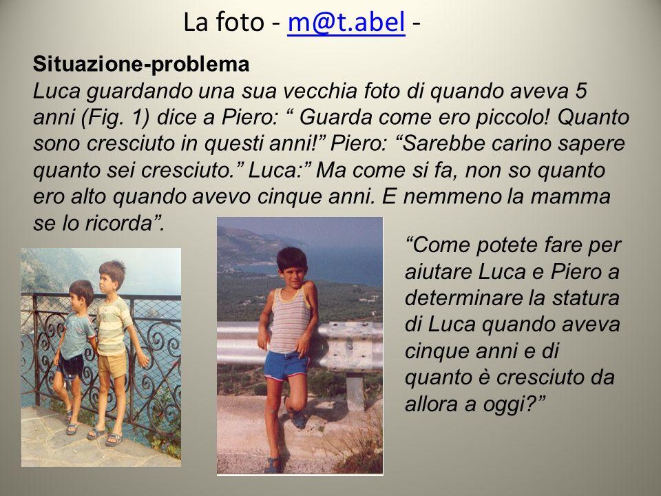 La foto - m@t.abel -m@t.abel Situazione-problema Luca guardando una sua vecchia foto di quando aveva 5 anni (Fig. 1) dice a Piero: Guarda come ero pic