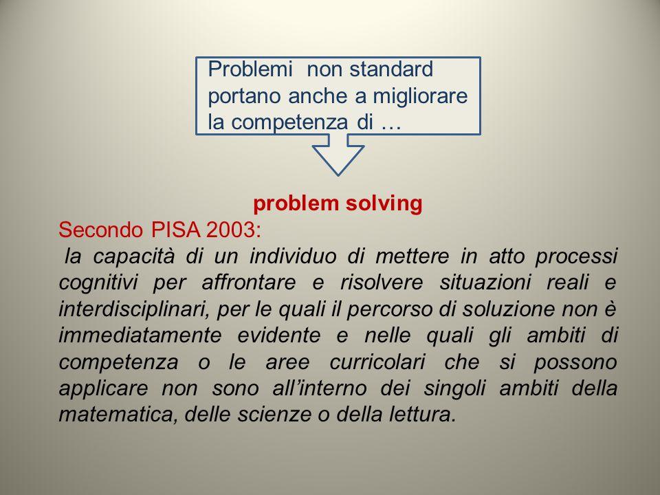 problem solving Secondo PISA 2003: la capacità di un individuo di mettere in atto processi cognitivi per affrontare e risolvere situazioni reali e int