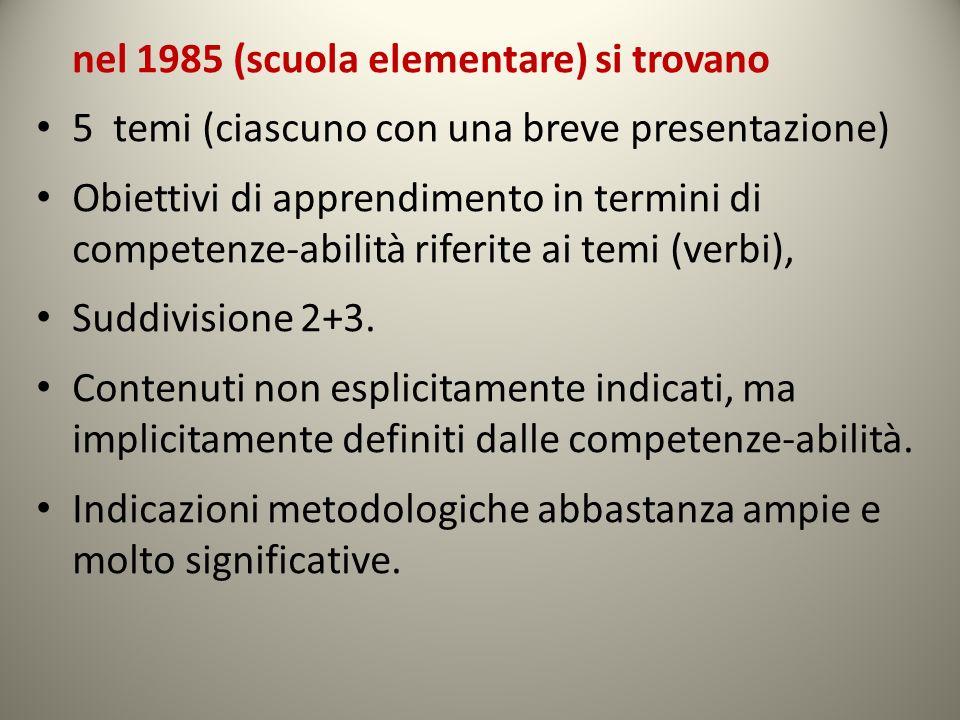 nel 1985 (scuola elementare) si trovano 5 temi (ciascuno con una breve presentazione) Obiettivi di apprendimento in termini di competenze-abilità rife