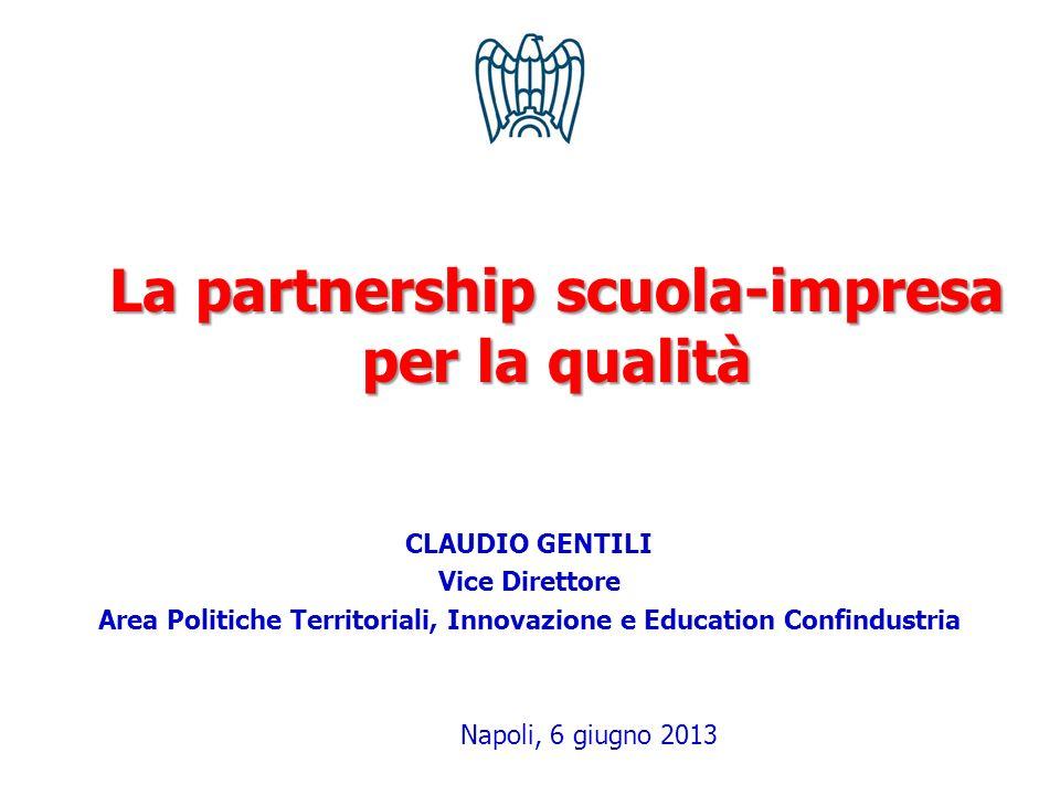 CLAUDIO GENTILI Vice Direttore Area Politiche Territoriali, Innovazione e Education Confindustria Napoli, 6 giugno 2013 La partnership scuola-impresa