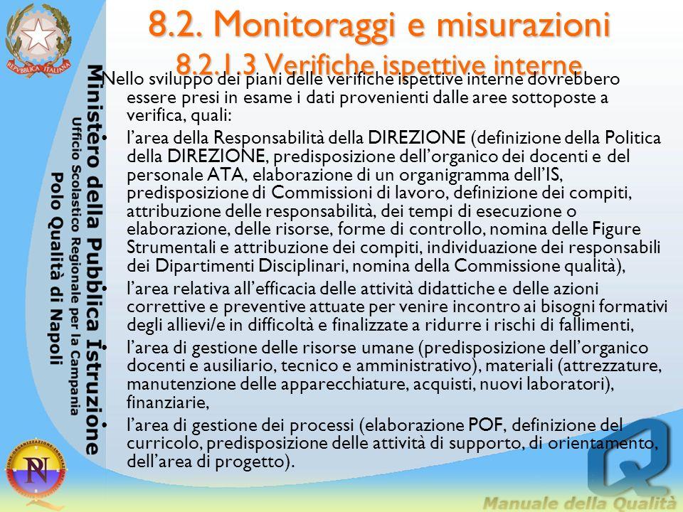 8.2. Monitoraggi e misurazioni 8.2.1.3 Verifiche ispettive interne 8.2.1.3. Verifiche ispettive interne LIS dovrebbe attivare un PROCESSO di verifiche