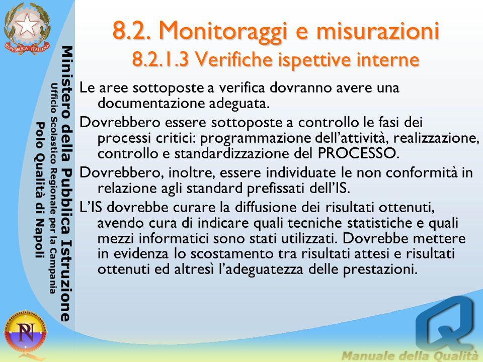 8.2. Monitoraggi e misurazioni 8.2.1.3 Verifiche ispettive interne Nello sviluppo dei piani delle verifiche ispettive interne dovrebbero essere presi