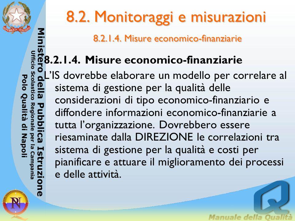 8.2. Monitoraggi e misurazioni 8.2.1.3 Verifiche ispettive interne Le aree sottoposte a verifica dovranno avere una documentazione adeguata. Dovrebber