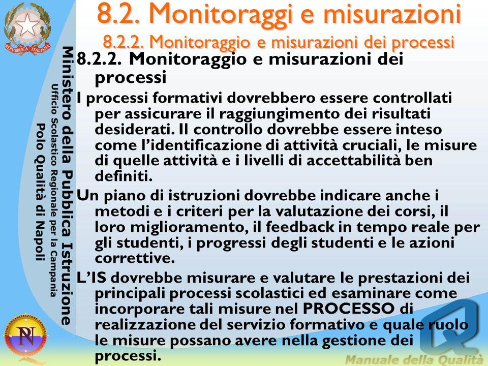 8.2. Monitoraggi e misurazioni 8.2.1.5. Autovalutazione 8.2.1.5. Autovalutazione LIS dovrebbe predisporre un PROCESSO di autovalutazione, che dovrebbe