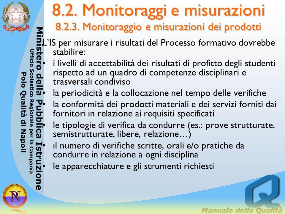 8.2. Monitoraggi e misurazioni 8.2.3. Monitoraggio e misurazioni dei prodotti 8.2.3. Monitoraggio e misurazioni dei prodotti Per ogni corso dovrebbero