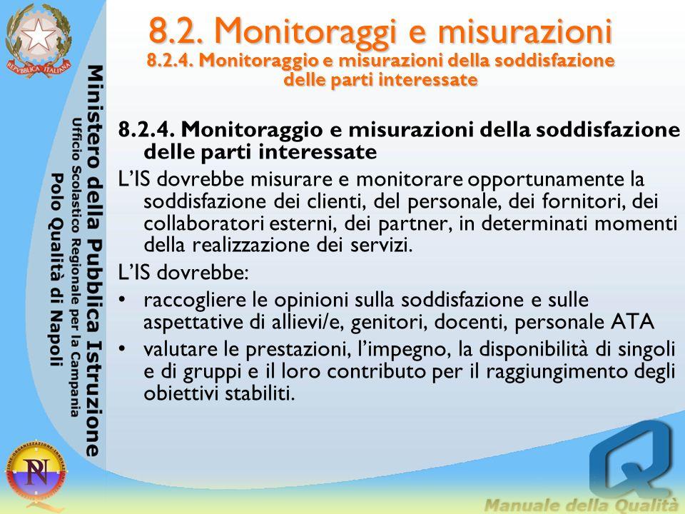 8.2. Monitoraggi e misurazioni 8.2.3. Monitoraggio e misurazioni dei prodotti Le misure dei prodotti dovrebbero essere condotte prima della fornitura