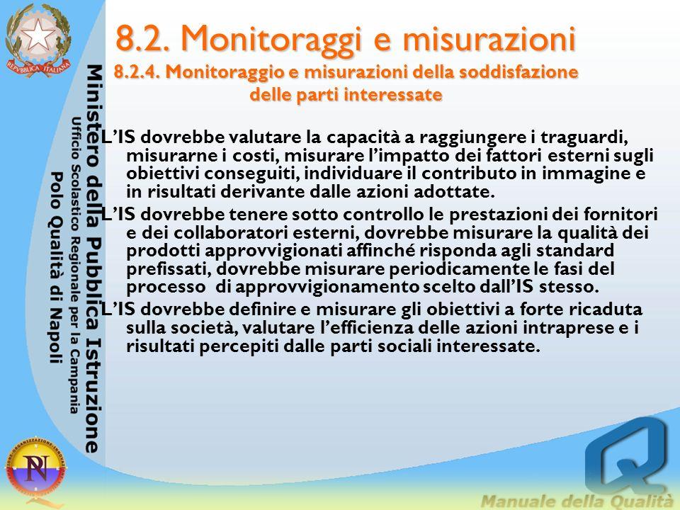 8.2. Monitoraggi e misurazioni 8.2.4. Monitoraggio e misurazioni della soddisfazione delle parti interessate 8.2.4. Monitoraggio e misurazioni della s