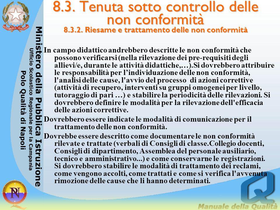 8.3. Tenuta sotto controllo delle non conformità 8.3.2. Riesame e trattamento delle non conformità 8.3.2. Riesame e trattamento delle non conformità L