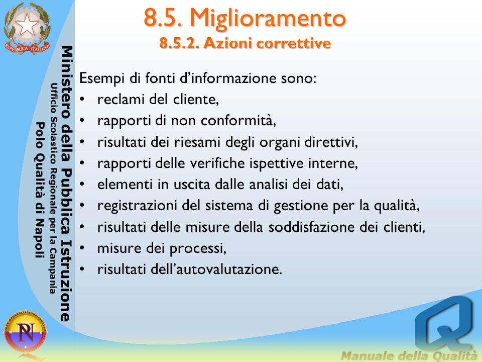 8.5. Miglioramento 8.5.2. Azioni correttive LIS dovrebbe pianificare ed adottare un processo per gestire le azioni correttive.Le azioni correttive dov