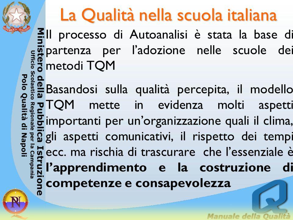 La Qualità nella scuola italiana Fino dagli anni 80 le istituzioni scolastiche sono ricorse allautoanalisi, che verte sul funzionamento complessivo de