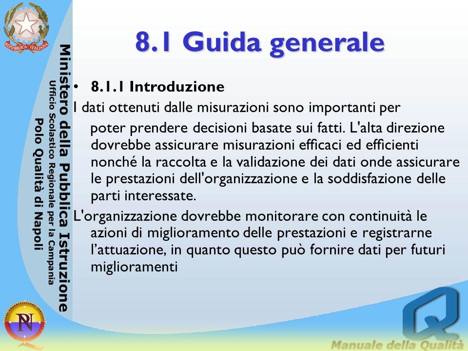8. Misurazione, Analisi e Miglioramento 8.1 Guida generale 8.2 Monitoraggi e misurazioni 8.3 Tenuta sotto controllo delle non conformità 8.4 Analisi d