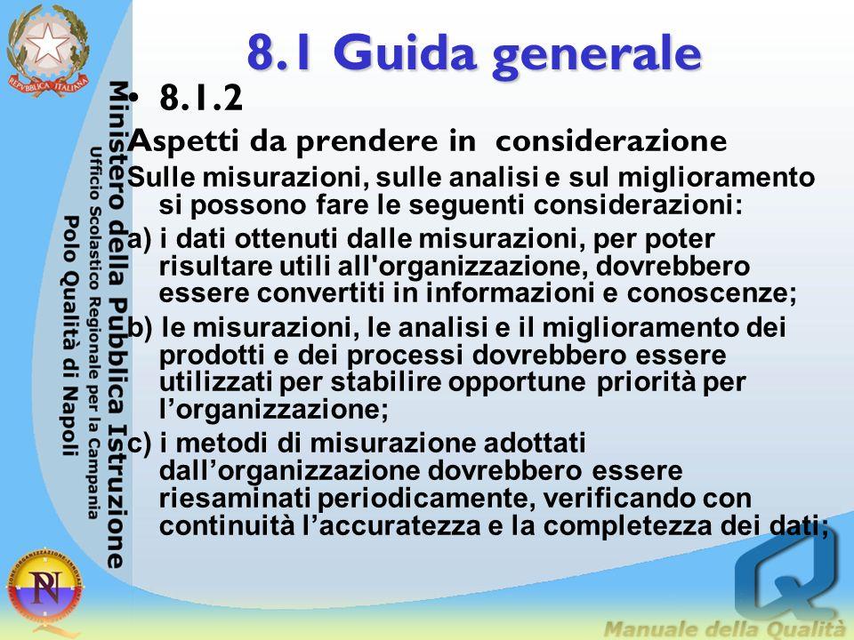 8.1 Guida generale 8.1.1 Introduzione I dati ottenuti dalle misurazioni sono importanti per poter prendere decisioni basate sui fatti. L'alta direzion