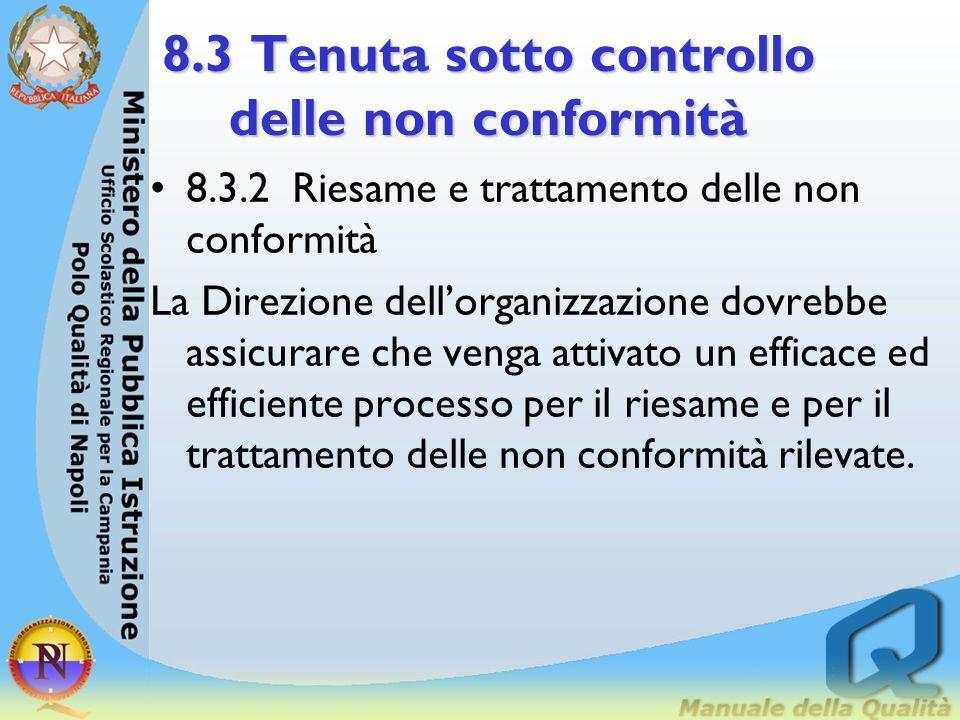8.3 Tenuta sotto controllo delle non conformità 8.3.1 Generalità L Alta Direzione dovrebbe assegnare a del personale dellorganizzazione lautorità e la