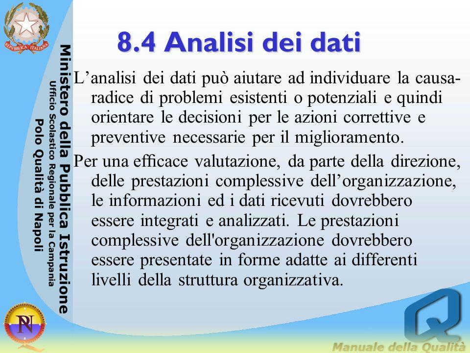8.4 Analisi dei dati Le decisioni basate su dati di fatto richiedono azioni efcaci ed efcienti quali: - metodi validi di analisi, - tecniche statistic