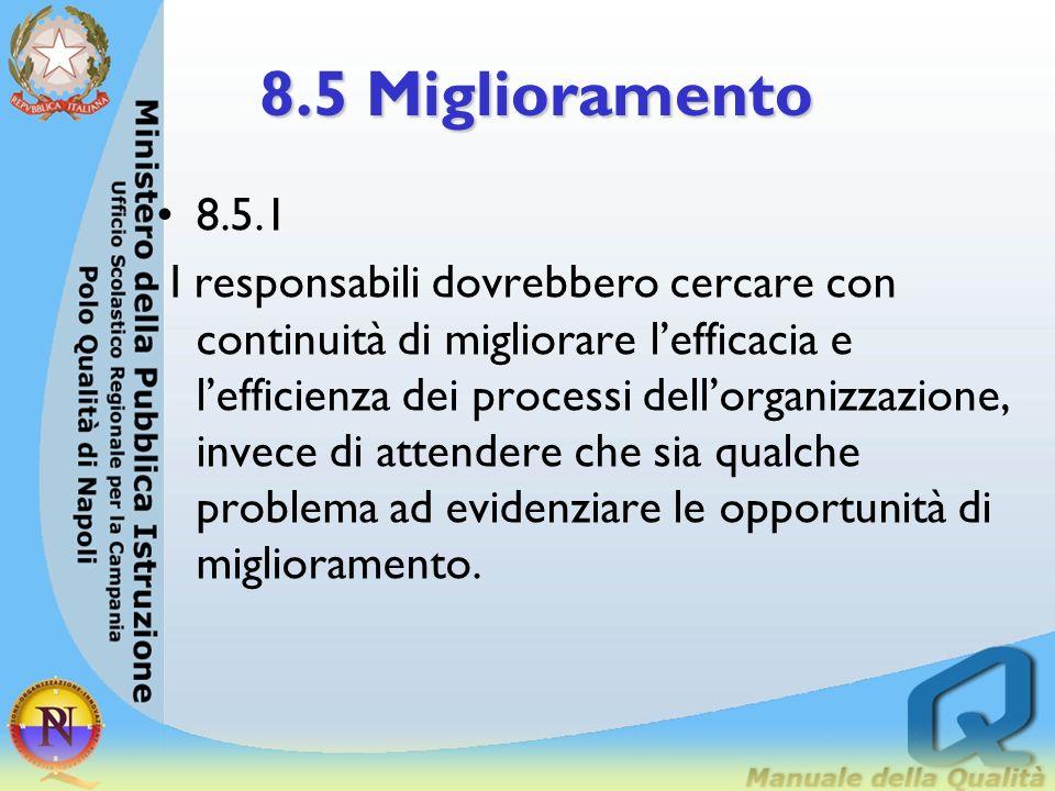 8.5 Miglioramento 8.5.1 Generalità 8.5.2 Azioni correttive 8.5.3 Prevenzione delle perdite 8.5.4 Miglioramento continuo dellorganizzazione