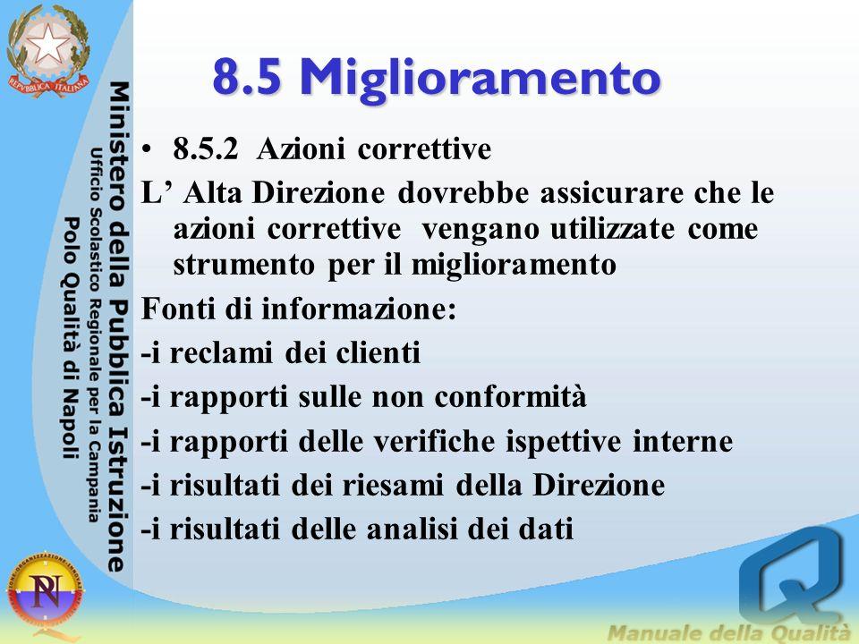 8.5 Miglioramento 8.5.1 I responsabili dovrebbero cercare con continuità di migliorare lefficacia e lefficienza dei processi dellorganizzazione, invec